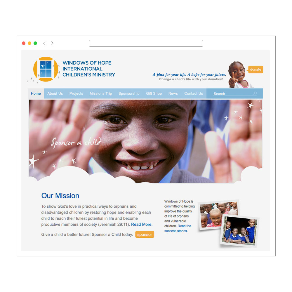 Windows of Hope web design